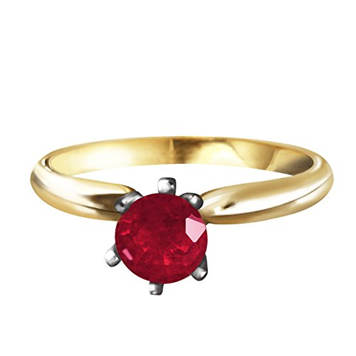 0.65 Carat 14k Solid Gold Solitaire Ring with Natural Ruby - Size 10 by Galaxy Gold