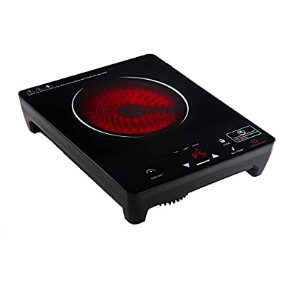 Ovente Cooktop Burner, Cool Touch Infrared, Ceramic Glass, Portable Hot Plate