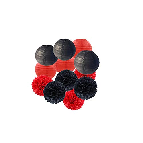 - 12 pcs Black Red Vegas Casino Themed Birthday Party Decorations Tissue Paper Pom Poms Paper Lanterns for Wedding Events Accessories Baby Shower Decorations Photo Backdrops Decoration