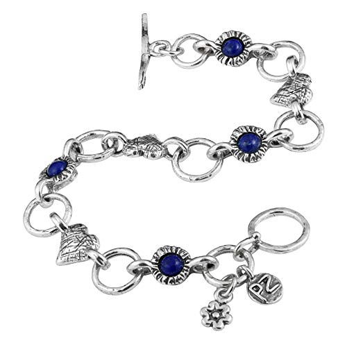PZ Paz Creations 925 Sterling Silver Lapis Lazuli and Heart Charm Link Toggle Bracelet (8)