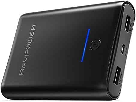 Portable Charger RAVPower 10000mAh Power Bank, Ultra-Compact 10000 Battery Pack with 3.4A Output, High Speed Charging, Dual iSmart 2.0 USB Ports, Portable Battery Charger for iPhone, iPad and More