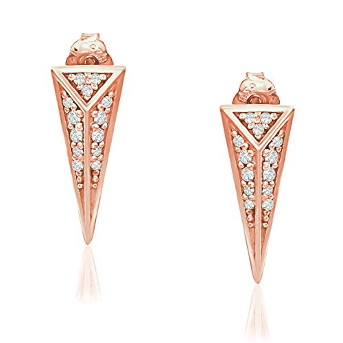 River Island Rose Gold Flashed Sterling Silver Geometric Triangle Cubic Zirconia Stud Earrings