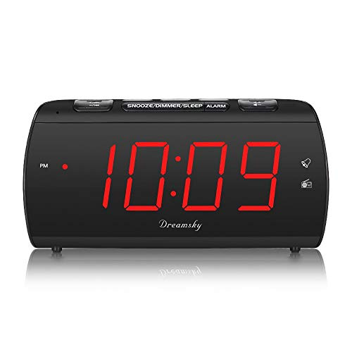 DreamSky Digital Alarm Clock Radio with USB Charging Port and FM Radios, Earphone Jack, Large 1.8