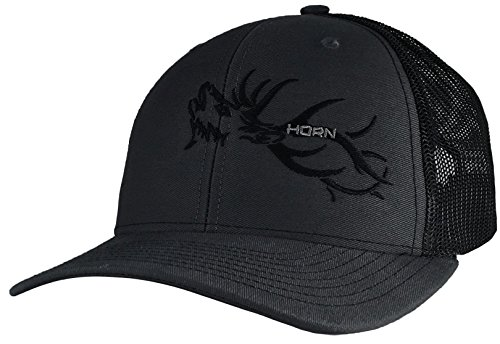 Elk Cap - Horn Gear Trucker Hat - Hunters Series Caps - Elk Edition Hats - High Air-Flow Cooling Mesh Design (Charcoal/Black)