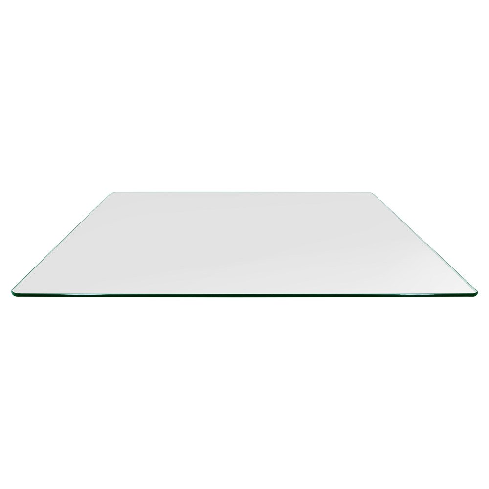 TroySys Rectangle 3/8 Inch Thick Pencil Polished Tempered Glass Table Top Radius Corner, 24'' L X 48'' W by TroySys