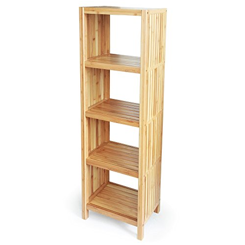 ToiletTree Products Deluxe Bamboo Freestanding Bathroom Organizing Shelf, 5-Tier Shelf