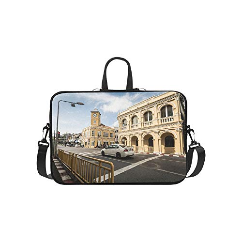Clock Tower in The Old Town Pattern Briefcase Laptop Bag Messenger Shoulder Work Bag Crossbody Handbag for Business Travelling