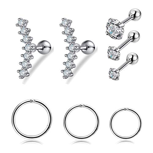 Besteel 8 Pcs 16G Cartilage Tragus Earrings for Women Girls Ear Climbers Helix Conch Daith Piercing Jewelry Sliver-tone