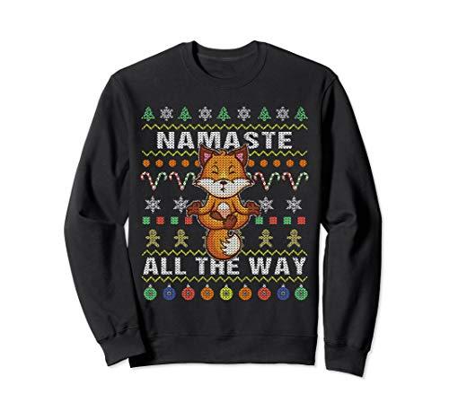 Fox Ugly Christmas Sweatshirt Namaste All The Way