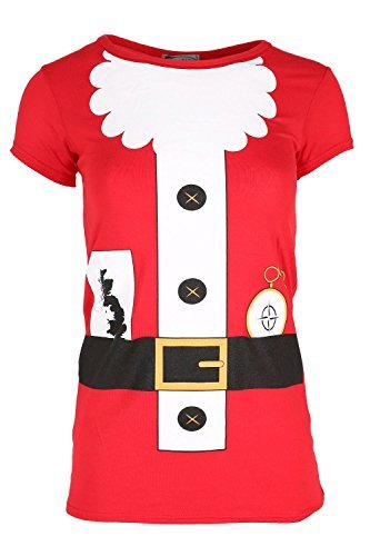 03d4bed0855 Womens Christmas T Shirt Ladies Long Sleeve Xmas Santa Costume Jersey Dress  Top  Amazon.co.uk  Clothing