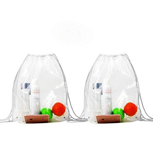 Backpacks-Clear-Drawstring-Waterproof-Bags 2 Pack Drawstring Backpacks Clear Bags for Stadium Gym Backpack Drawstring Bags For NFL
