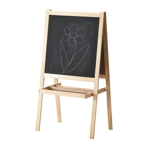 Ikea MALA 500.210.76 Easel, SoftWood, White, Length: 17 Inch, Width: 24 Inch, Height: 46 - Easel Kids Wooden