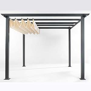 Pureday - Carpa Tipo pérgola para terraza, Estructura de Aluminio y Techo de poliéster, sin Pisos, 290x 290x 220cm, Color Beige Oscuro