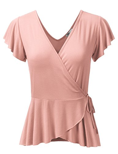 Wrap Blouse (Doublju Deep V-Neck Surplice Ruffle Blouse Cross Wrap Tops For Women With Plus Size (Made In USA) Peach X-Large)