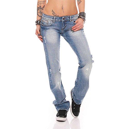 Nicole Hellblau Used-Look Damen Hüfthose Designer Jeans Denim Reißverschluss Boot-Cut