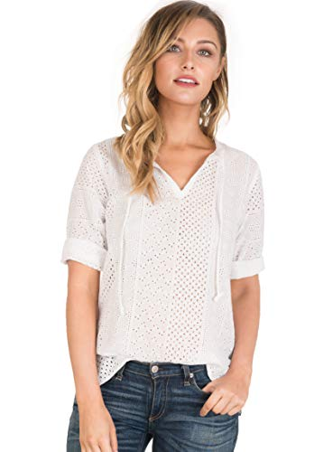 CAMIXA Women's Boho Eyelet Lace Peasant Shirt Blouse Modern Wardrobe Essential S White Lace