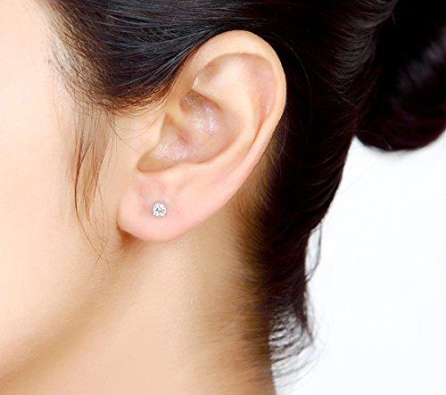 Libertini Boucle d'oreille argent 925 serti de Diamant Solitaire