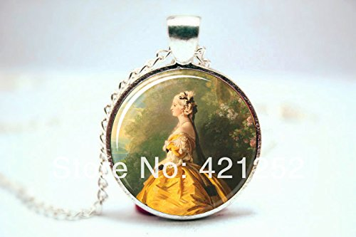 Pretty Lee 2015 Fashion Marie Antoinette Necklace Art Pendant Charm With Necklace Chain Glass Cabochon Necklace 3098 Christmas gift (Antoinette Glass Pendant)