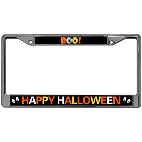GND Metal Chrome License Plate Frame Happy Halloween License Plate Metal Frame,BOOTIFUL Halloween Slim Design Car Licence Plate Covers for US Canada -