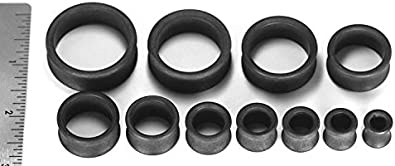 Painful Pleasures Nylon Charcoal Double Flare Tunnels from 0g up to 2-7//8 Price Per 1