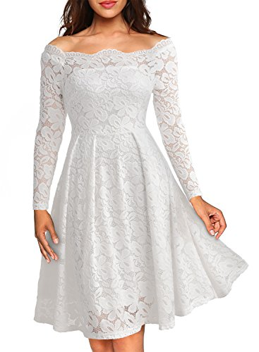 MissMay Women's Vintage Floral Lace Long Sleeve Boat Neck Cocktail Formal Swing Dress White XX-Large