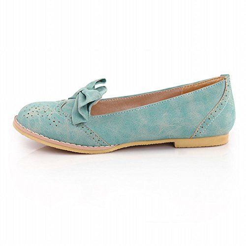 Latasa Womens Cute Bow Round-toe Comfortable Flats Shoes, Loafers Shoes Blue