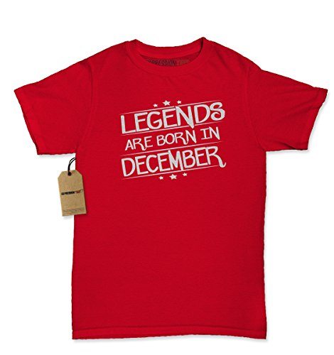 [Womens Legends Are Born In December T-Shirt X-Large Red] (1912 Fancy Dress Costumes)