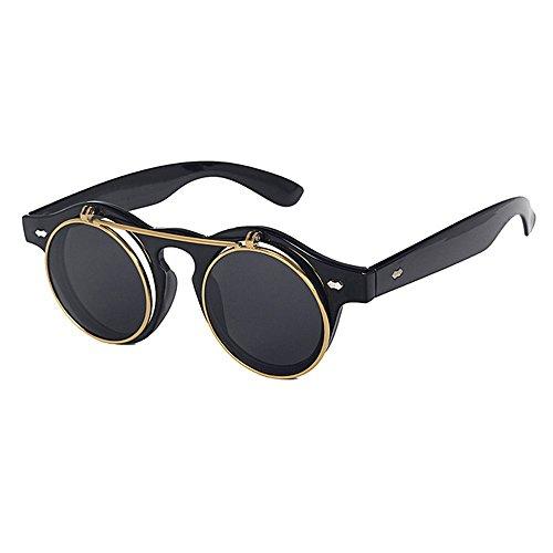 la Lunettes Flip Femmes Noir Retro Lunettes de soleil de mode brillant Double et Lens Hommes soleil gris Gothique de zwqEInqaP