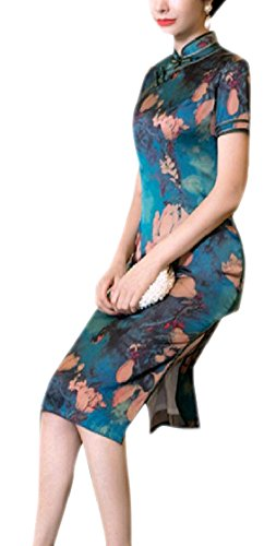 Coolred-femmes Stand-up Col Mince Casual Manches Courtes Split Vintage Rétro Soie Cheongsam Pattern3 Robe Chinoise