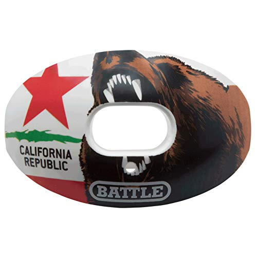 Battle Oxygen Lip Protector Mouthguard - Football and Sports Mouth Guard - Maximum Oxygen - Mouthpiece Fits With or Without Braces - Impact Shield Protects Lips and Teeth, Limited Edition USA Flag