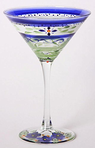 Set of 2 Blue Floral Hand Painted Martini Drinking Glasses - 7.5 (Floral Painted Glass)