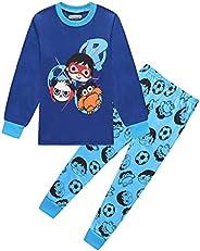 Thombase Kids Boys Long Sleeve Christmas Xmas Pajamas Blue Red Pjs 3-8 Years