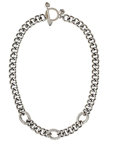 """Juicy Couture Replenishment"""" Silver Pave Link Necklace, 18"""""""