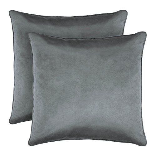 Laura Ashley Lucas Solid Shinny Velvet Dec. Pillow Set x 20 in, Grey, 2 Piece