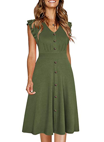 Ranphee Womens Ruffle-Frame Sleeveless V Neck Cotton A-Line Button Down Dress (XL, Army Green)