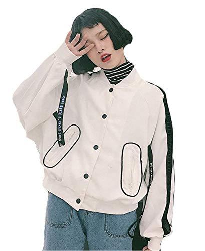 Bomber Fashion Eleganti Relaxed Maniche Outerwear Bianca College Giacche Giacca Pilot Stlie Stampate Lacci Autunno Grazioso Con Casual Cappotto Donna Lunghe 1Adqx4pw