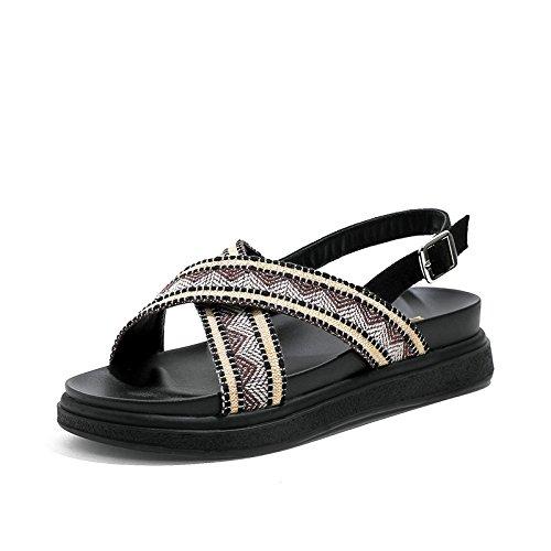 YMFIE Sandalias de Punta Abierta de Mujer de Verano Bohemia cómodas Zapatillas de Playa Planas Antideslizantes, 39 UE 36 EU