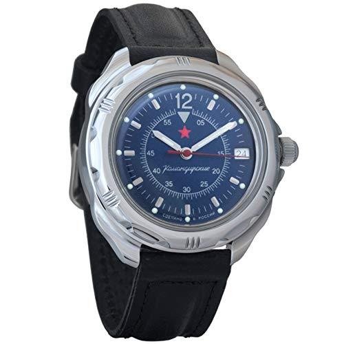 Vostok Classic Komandirskie Dark-Blue Dial Mechanical Hand-Winding Mens Military Commander Wrist Watch #211398 (Classic) ()