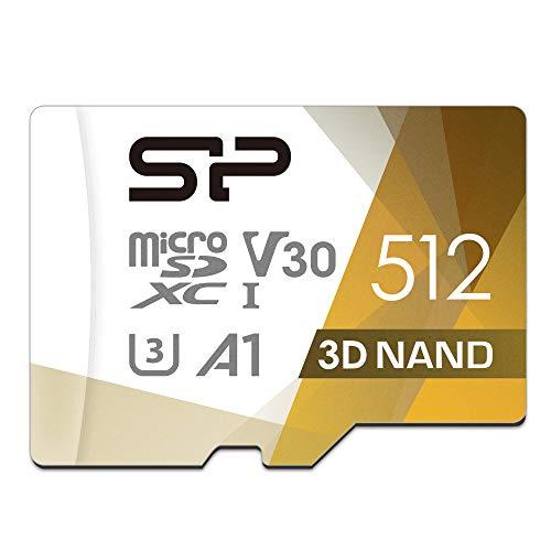 Silicon Power 512 GB R / W تا 100 / 80MB / s Superior Pro microSDXC UHS-I (U3)، V30 4K A1، MicroSD با سرعت بالا با آداپتور