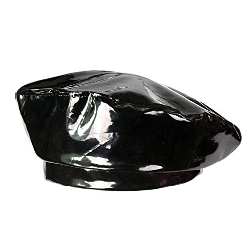 Leather Ladies Hats (NEW Fashion Patent Leather Beret Ladies Hats Solid Color Flat Top Hat PU Slouchy Bone Captain Cap Women Female Black)