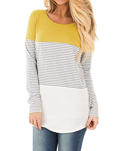 YunJey Long Sleeve Round Neck Triple Color Block Stripe Casual Blouse