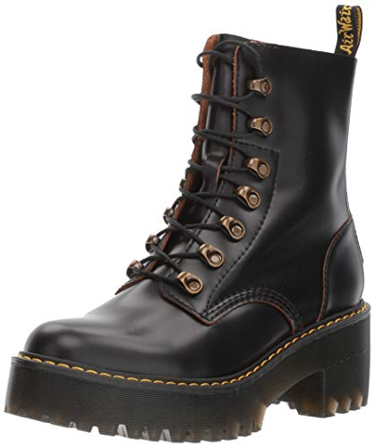 Dr. Martens Shoes Leona Boot, Black Vintage Smooth, 8 UK, Women's 10 US]()