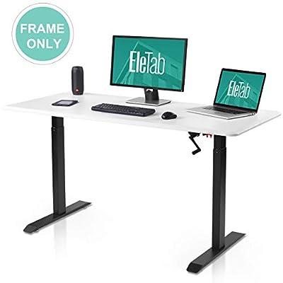 Manual Stand Up Desk Frame - EleTab Height Adjustable Sit Stand Desk with Crank System Standing Workstation