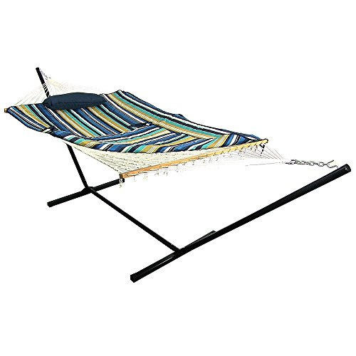 - Sunnydaze Cotton Rope Hammock with 12 Foot Portable Steel Stand and Spreader Bar, Indoor or Outdoor Use, Pad and Pillow Included, Lakeview