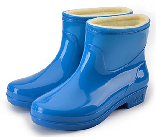 Adult Women's Antiskid Short Ankle High Rubber Shoes Rain Boots (7.5, Blue)
