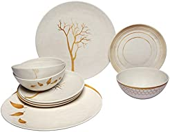 Melange 12-Piece 100% Melamine Dinnerware Set (Gold Nature Collection ) | Shatter  sc 1 st  Amazon.com & Amazon.com: Commercial Grade - Dinnerware Sets / Dining ...