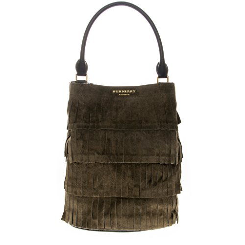 Burberry Women's Bucket Bag in Tiered Fringing Dark Green