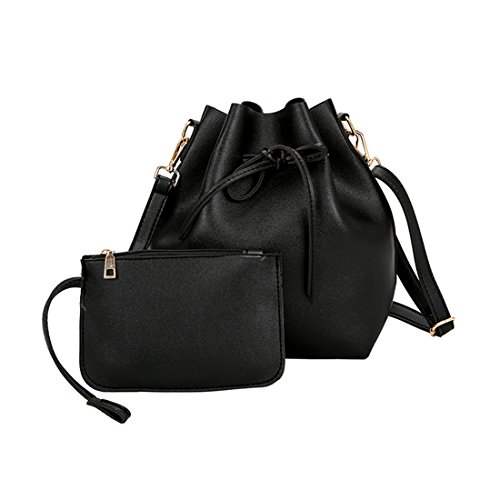 Women Textured Faux Leather Drawstring Style Mini Handbag Bucket Shoulder Bag (Black2) by Shayin