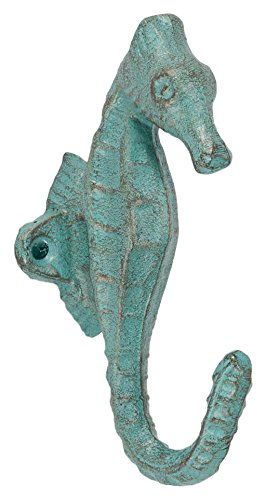 Abbott Collection Cast Iron Seahorse Wall Hook, Light Green by Abbott Collection