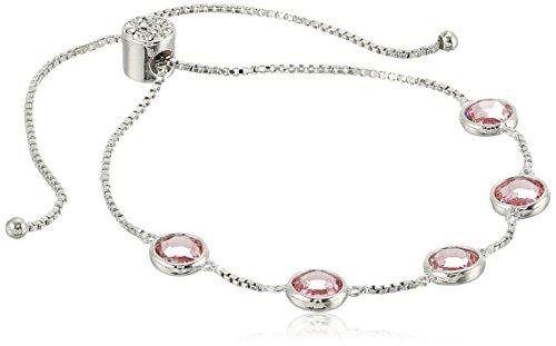 925 Sterling Silver Pink Swarovski Crystal Adjustable Slider Bracelet (4.4 cttw) ()